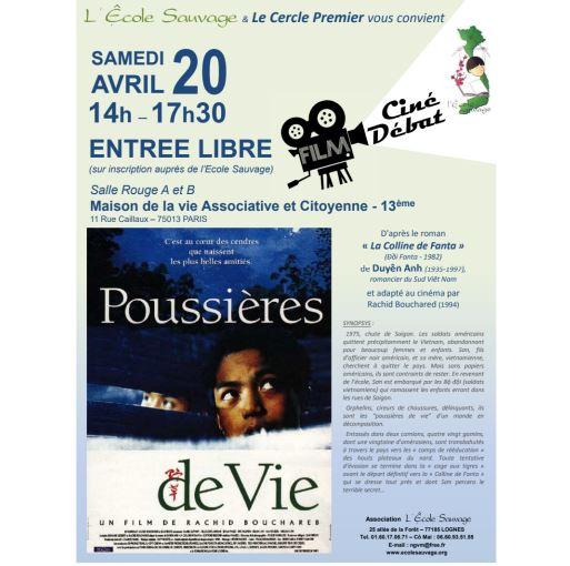 Samedi 20 Avril 2019 : Ciné – Débat «Poussières de Vie»