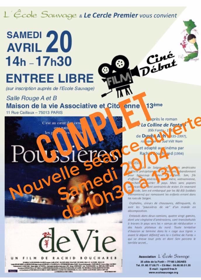 Samedi 20 Avril 2019 : 2 séances Ciné – Débat «Poussières de Vie»