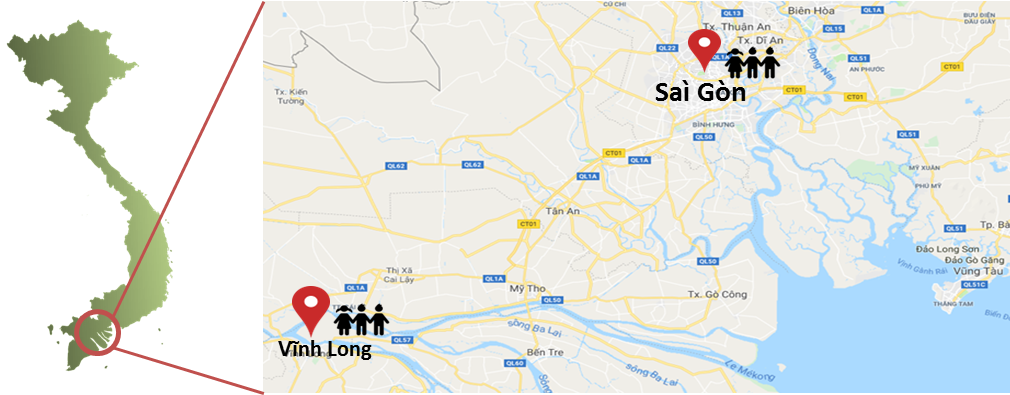 carte situation saigon vinh long