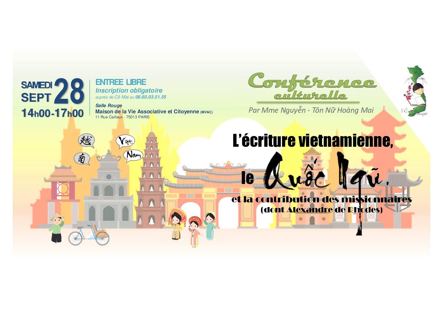 Conférence culturelle : l'écriture vietnamienne, le Quốc Ngữ, et la contribution des missionnaires