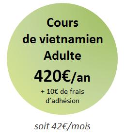 tarif cours vietnamien adulte