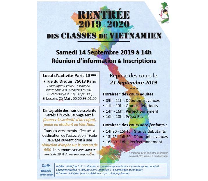 Rentrée 2019-2020 des cours de vietnamien