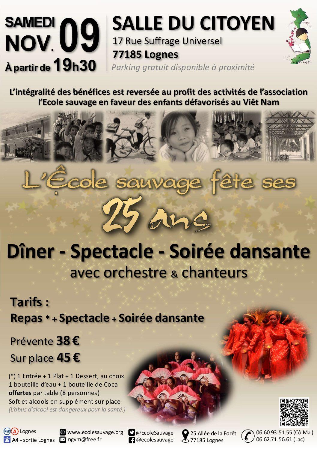 Soirée Dîner – Spectacle – Soirée dansante : l'Ecole sauvage fête ses 25 ans !